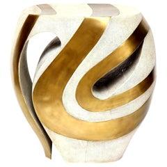 Shagreen Stool with Brass Details, Cream Shagreen, Organic Shape, in Stock