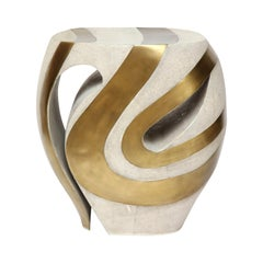 Shagreen Stool with Bronze Details, Cream