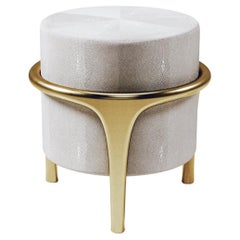 Shagreen Stool with Bronze-Patina Brass Details by R&Y Augousti