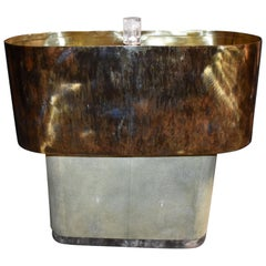 Shagreen Table Lamp with Ice Cracked Base and Resin with Brass Shades