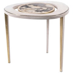 Shagreen Table with Patagonia Stone and Brass by R&Y Augousti