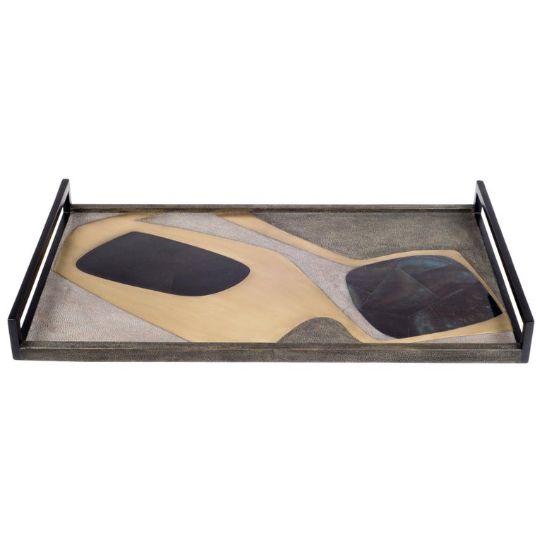 Shagreen Tray with Blue Pen Shell and Brass Inserts by R&Y Augousti For Sale