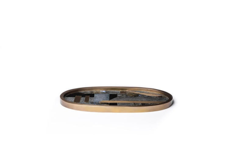 Hand-Crafted Shagreen Tray with Mix Inlay Pattern including Shell and Brass by Kifu, Paris For Sale