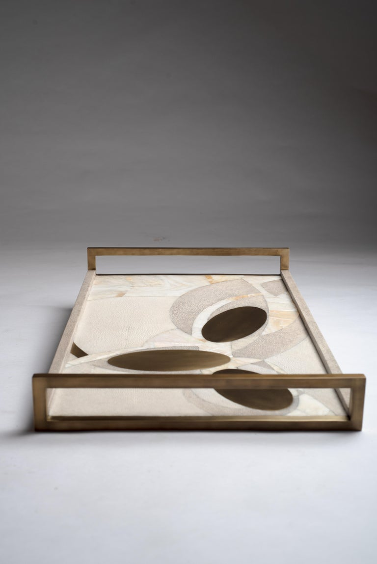 Hand-Crafted Shagreen Tray with Mother of Pearl and Brass Inserts by R&Y Augousti For Sale