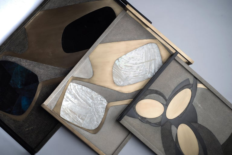 Contemporary Shagreen Tray with Mother of Pearl and Brass Inserts by R&Y Augousti For Sale