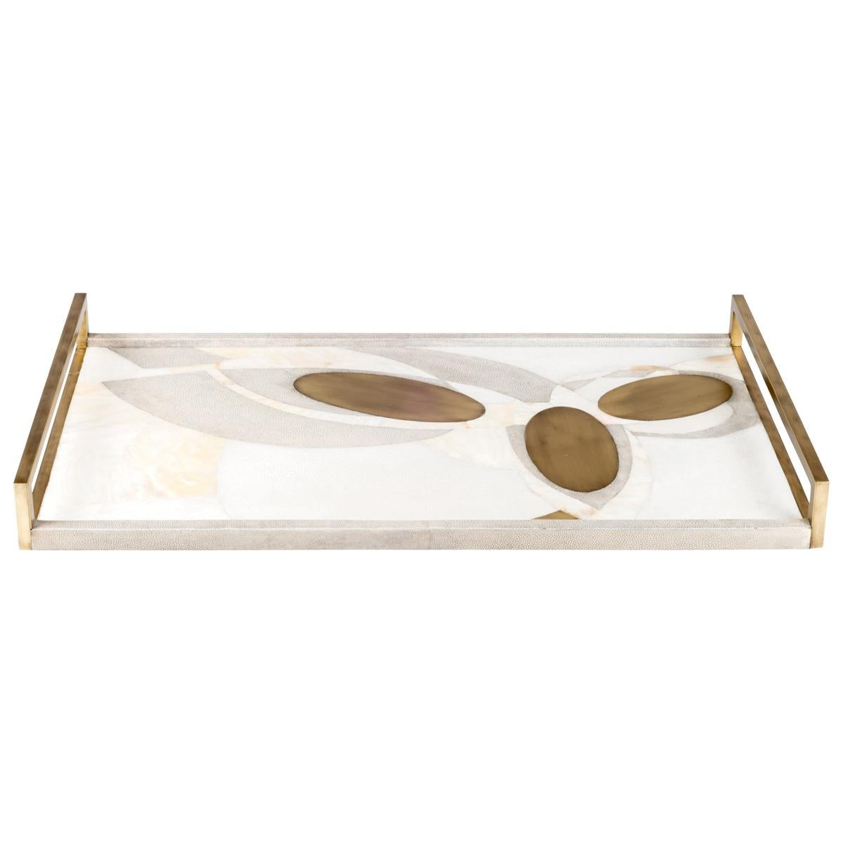 Shagreen Tray with Mother of Pearl and Brass Inserts by R&Y Augousti