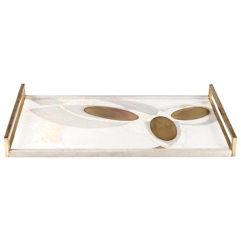 Shagreen Tray with Mother of Pearl and Brass Inserts by R&Y Augousti For Sale