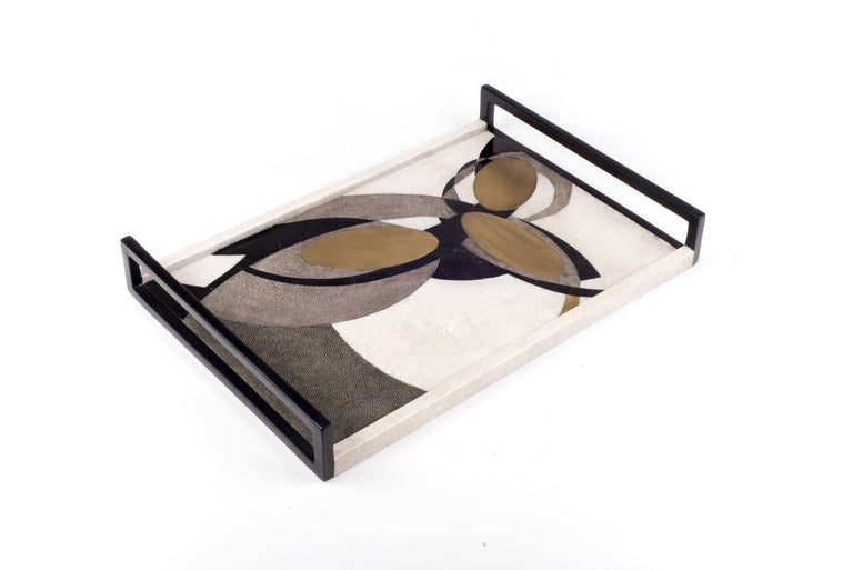 The Lunar dark tray in medium, demonstrates the beautiful signature Augousti inlay work and design aesthetic. This pattern is an abstract interpretation of lunar constellations. Available in other sizes and color variations as well as pattern