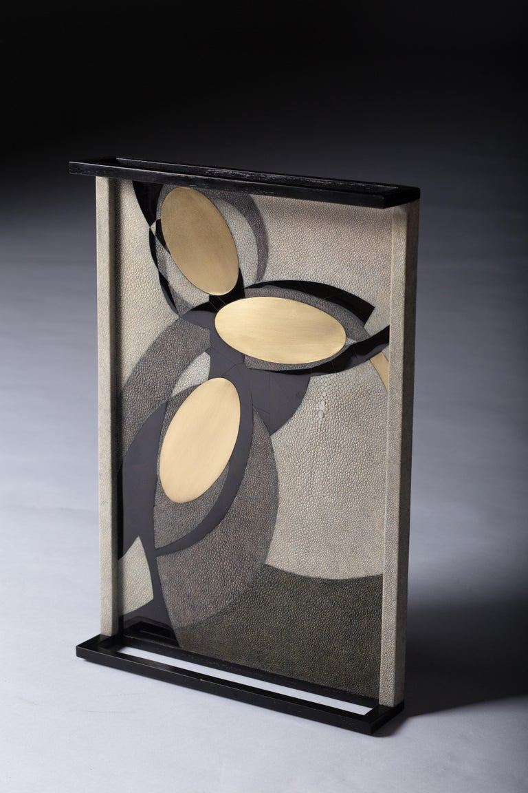 Art Deco Shagreen Tray with Shell and Brass Inserts by R&Y Augousti For Sale