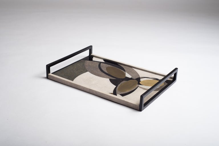 Shagreen Tray with Shell and Brass Inserts by R&Y Augousti In New Condition For Sale In New York, NY
