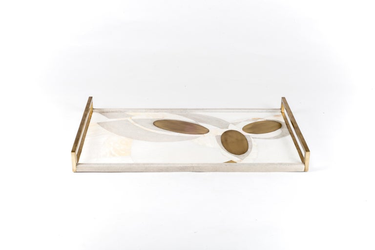 Contemporary Shagreen Tray with Shell and Brass Inserts by R&Y Augousti For Sale