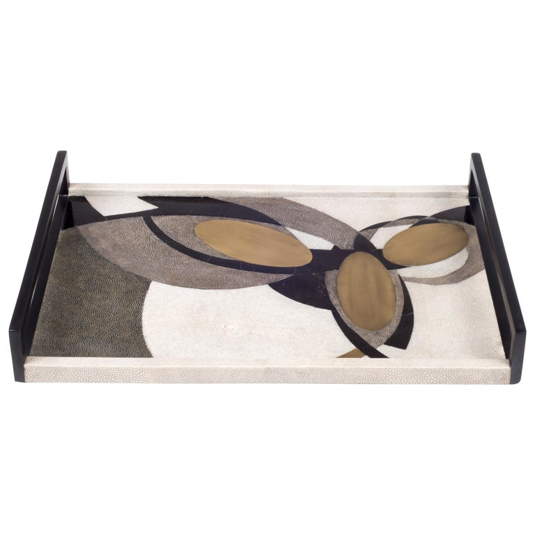 Shagreen Tray with Shell and Brass Inserts by R&Y Augousti For Sale