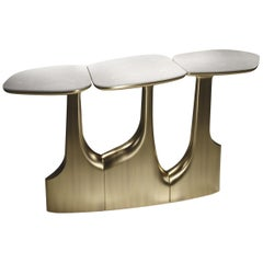 Shagreen Triptych Console with Bronze-Patina Brass Accents by R&Y Augousti