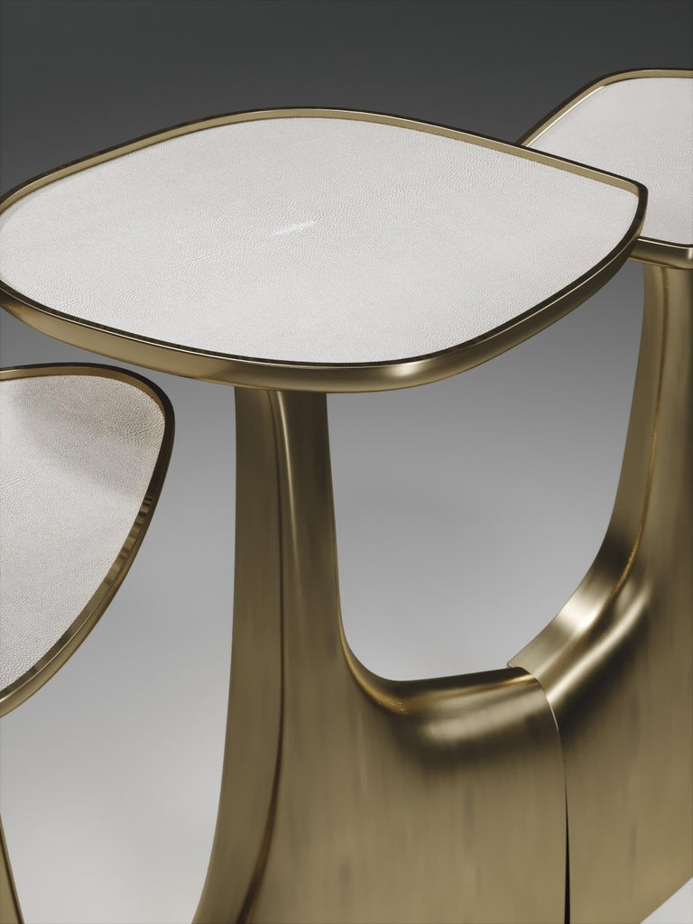 Shagreen Triptych Side Tables with Bronze-Patina Brass Accents by R & Y Augousti For Sale 2