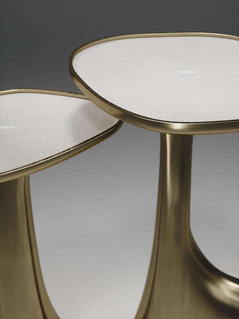 Shagreen Triptych Side Tables with Bronze-Patina Brass Accents by R & Y Augousti For Sale 3