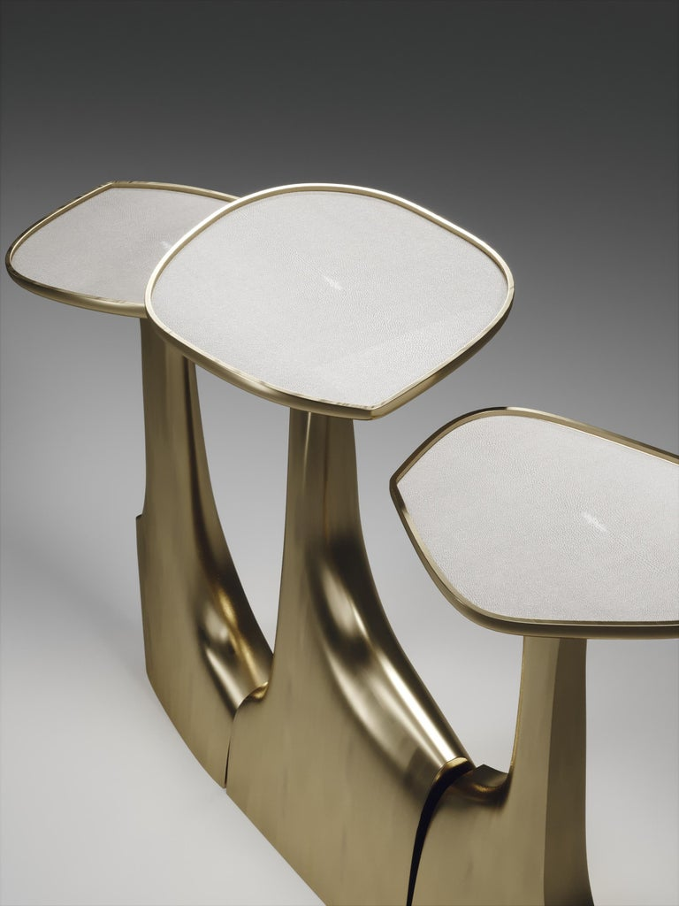 Shagreen Triptych Side Tables with Bronze-Patina Brass Accents by R & Y Augousti For Sale 4