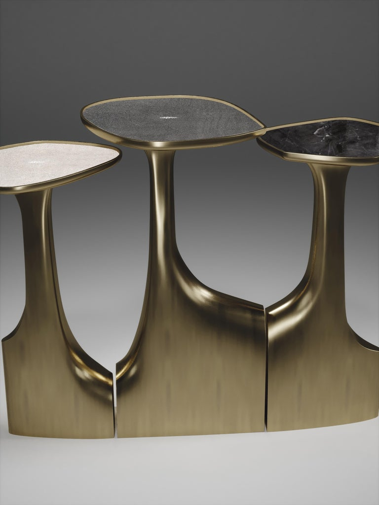 Shagreen Triptych Side Tables with Bronze-Patina Brass Accents by R & Y Augousti For Sale 7