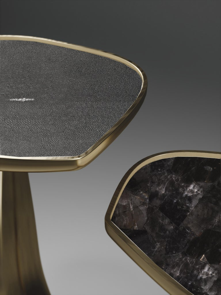 Shagreen Triptych Side Tables with Bronze-Patina Brass Accents by R & Y Augousti For Sale 8