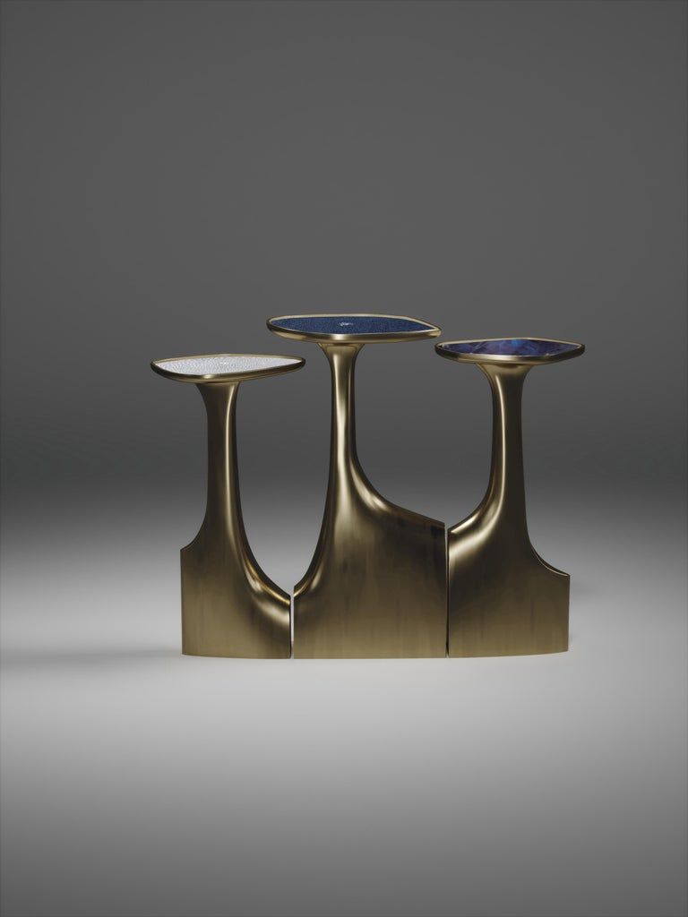 Shagreen Triptych Side Tables with Bronze-Patina Brass Accents by R & Y Augousti For Sale 9