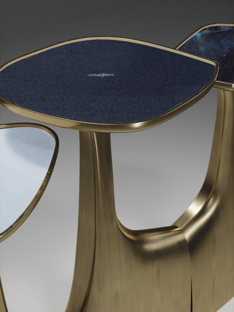 Shagreen Triptych Side Tables with Bronze-Patina Brass Accents by R & Y Augousti For Sale 10