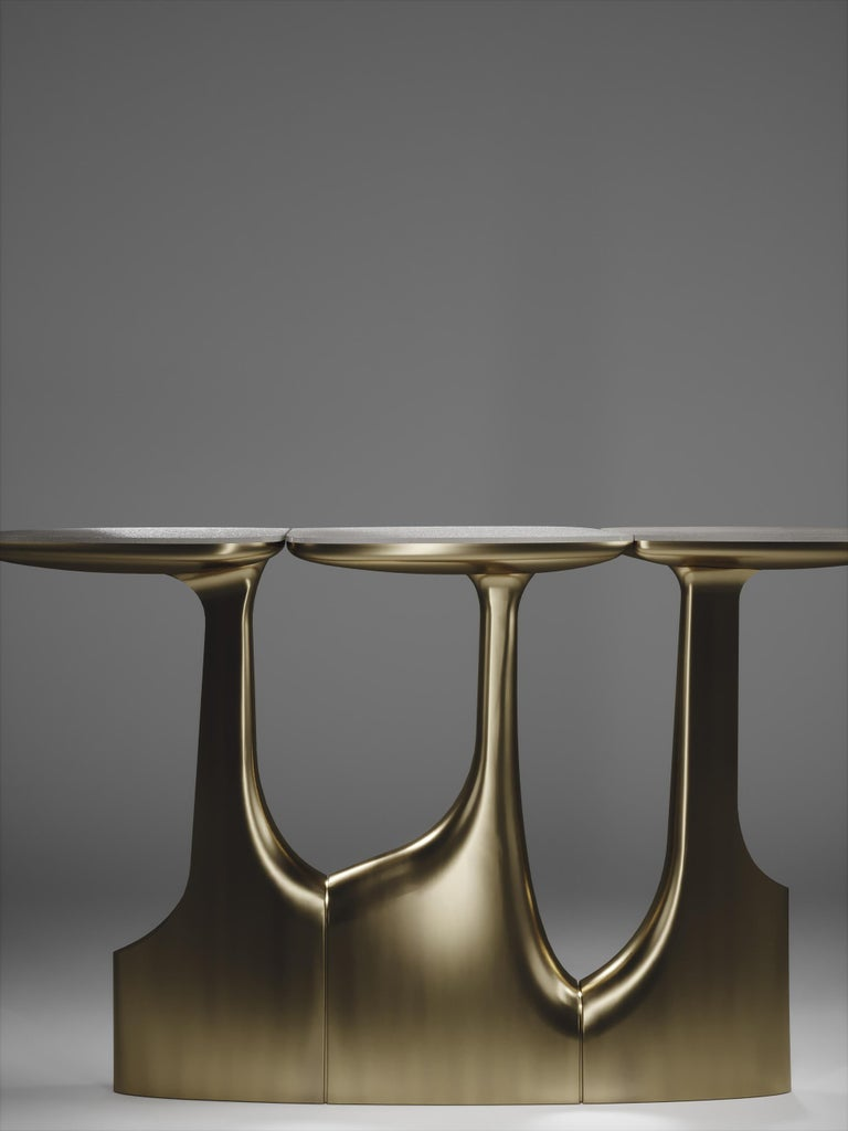 Shagreen Triptych Side Tables with Bronze-Patina Brass Accents by R & Y Augousti For Sale 11