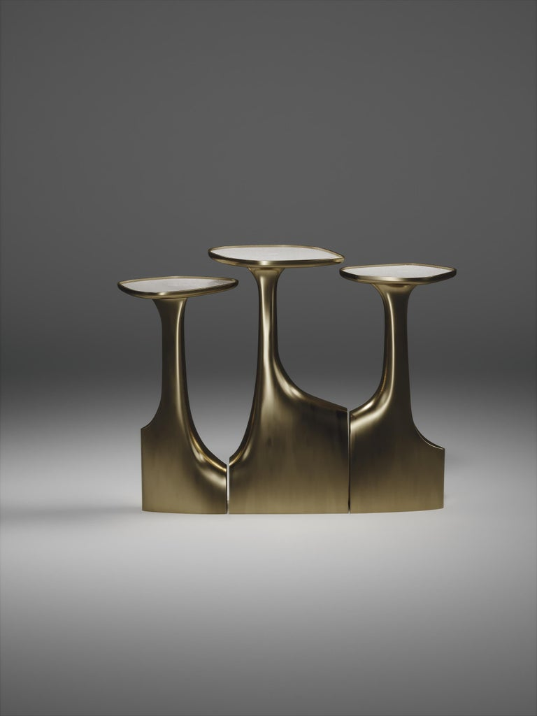 Art Deco Shagreen Triptych Side Tables with Bronze-Patina Brass Accents by R & Y Augousti For Sale