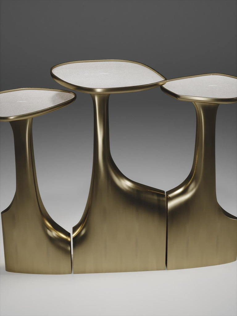 Hand-Crafted Shagreen Triptych Side Tables with Bronze-Patina Brass Accents by R & Y Augousti For Sale