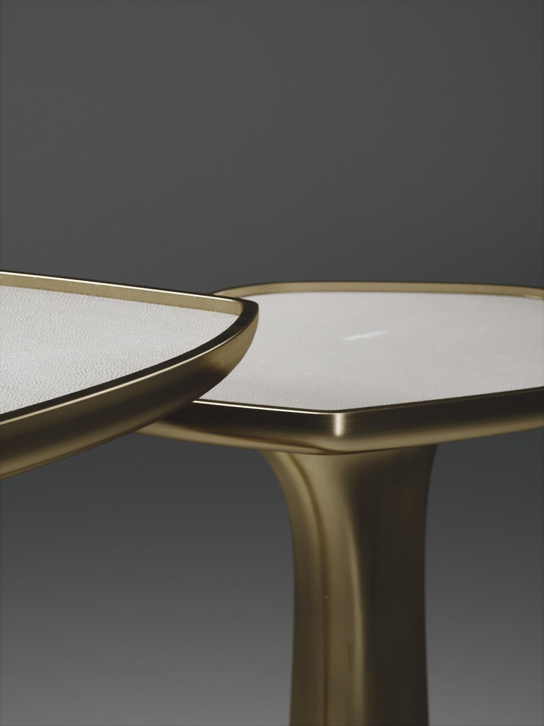 Shagreen Triptych Side Tables with Bronze-Patina Brass Accents by R & Y Augousti In New Condition For Sale In New York, NY