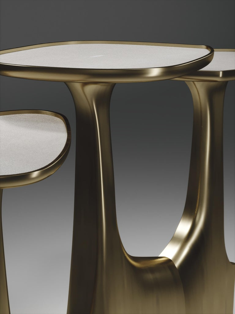 Contemporary Shagreen Triptych Side Tables with Bronze-Patina Brass Accents by R & Y Augousti For Sale