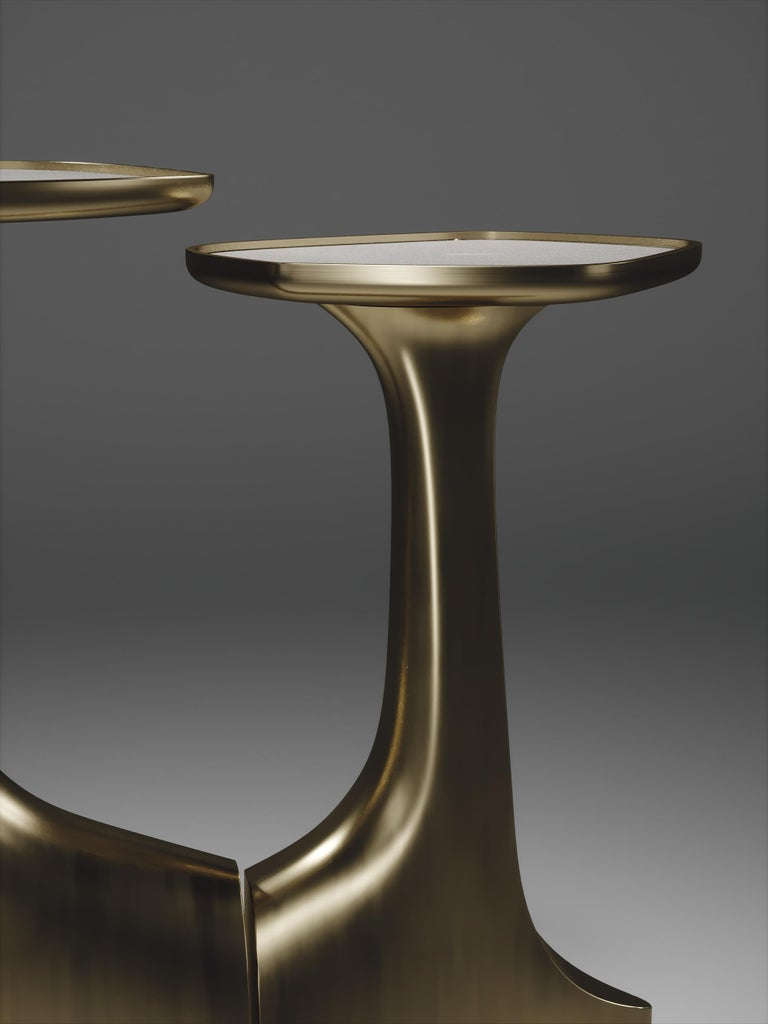 Shagreen Stingray Shagreen Triptych Side Tables with Bronze-Patina Brass Accents by R & Y Augousti For Sale