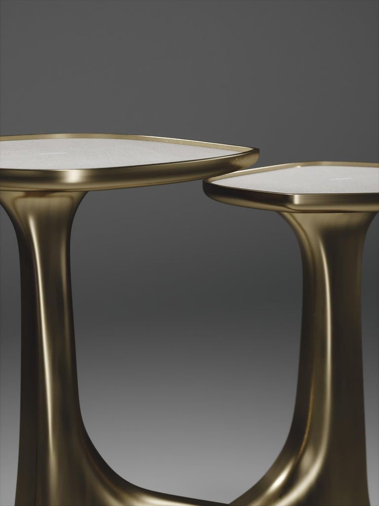 Shagreen Triptych Side Tables with Bronze-Patina Brass Accents by R & Y Augousti For Sale 1
