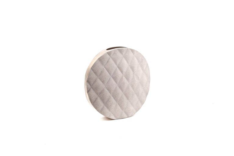Inlay Shagreen Vase with Brass and Quilted Details by Kifu Paris For Sale