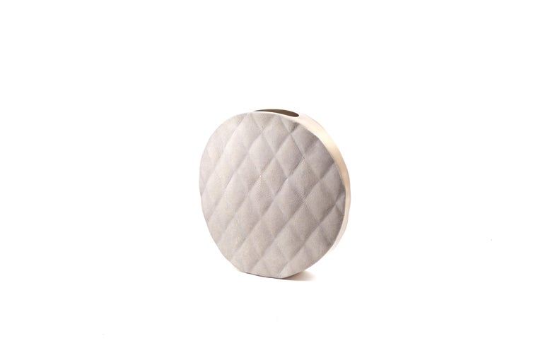 Contemporary Shagreen Vase with Brass and Quilted Details by Kifu Paris For Sale