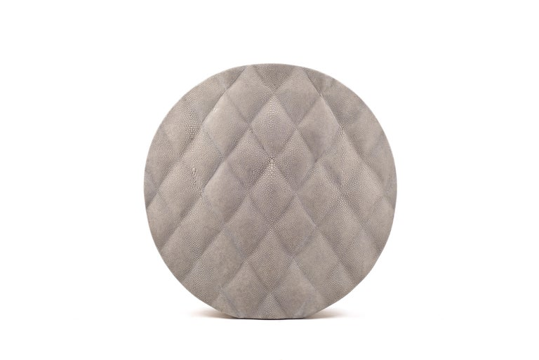 Shagreen Vase with Brass and Quilted Details by Kifu Paris For Sale 2