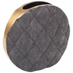 Shagreen Vase with Brass and Quilted Details by Kifu Paris