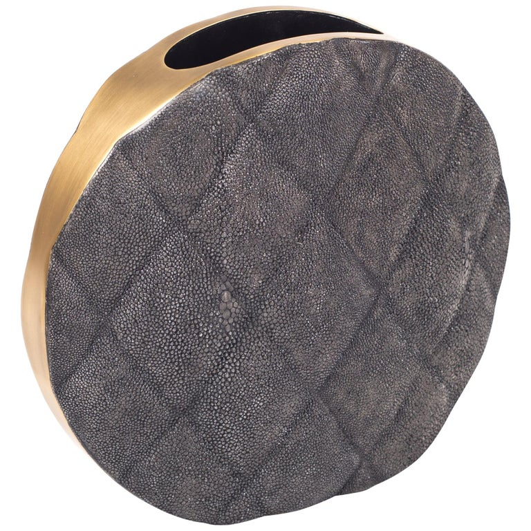 Shagreen Vase with Brass and Quilted Details by Kifu Paris For Sale