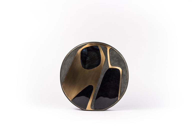 Hand-Crafted Shagreen Vase with Pen Shell and Bronze-Patina Brass Details by R&Y Augousti For Sale