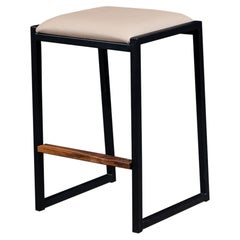 Shaker Backless Counter Stool by Ambrozia, Walnut, Black Steel, Sandle Vinyl