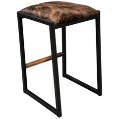 Shaker Backless Counter Stool by Ambrozia, Walnut, Steel, Brown Brindle Cowhide