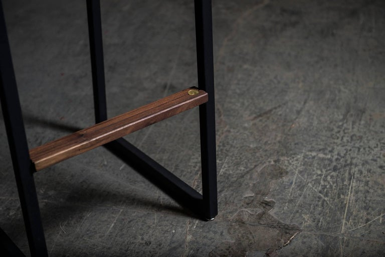 Hand-Crafted Shaker Barstool Chair by Ambrozia, Walnut, Black Steel, Cream Premium Vinyl For Sale