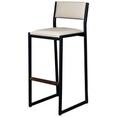 Shaker Bar stool Chair by Ambrozia, Solid Walnut, Black Steel, Cream Vinyl
