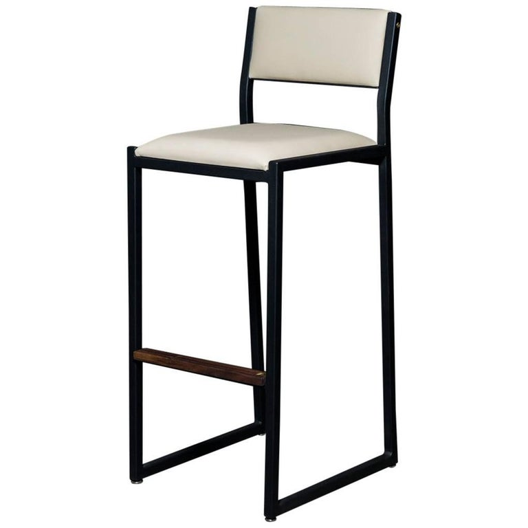 Shaker Barstool Chair by Ambrozia, Walnut, Black Steel, Cream Premium Vinyl For Sale