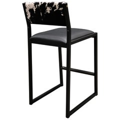 Shaker Counter Stool, by Ambrozia, Ebonized Oak, Black Leather & S & P Cowhide