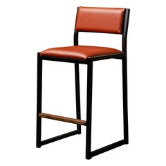 Shaker Counter Stool Chair by Ambrozia, Walnut, Black Steel, Terracota Vinyl