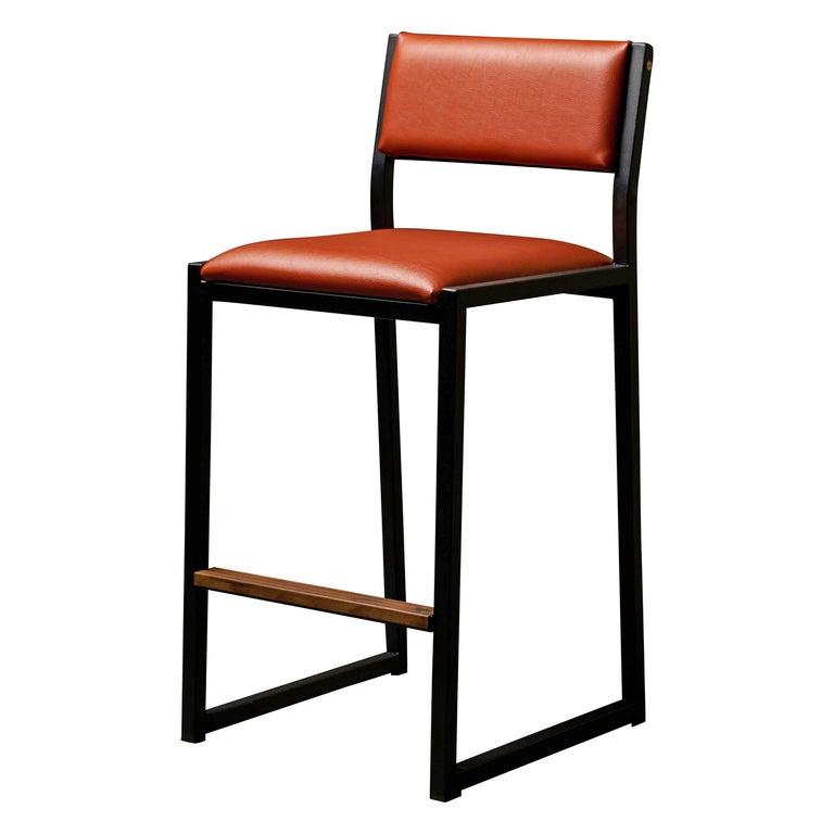 Shaker Counter Stool Chair by Ambrozia, Walnut, Black Steel, Terracota Vinyl For Sale