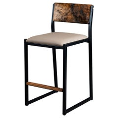 Shaker Counter Stool Chair by Ambrozia, Walnut, Sandle Vinyl & Brindle Cowhide