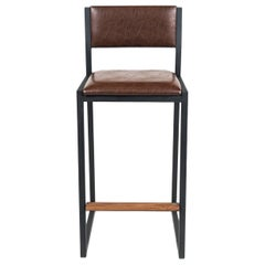 Shaker Counterstool Chair by Ambrozia, Walnut, Black Steel, Aged Brown Vinyl