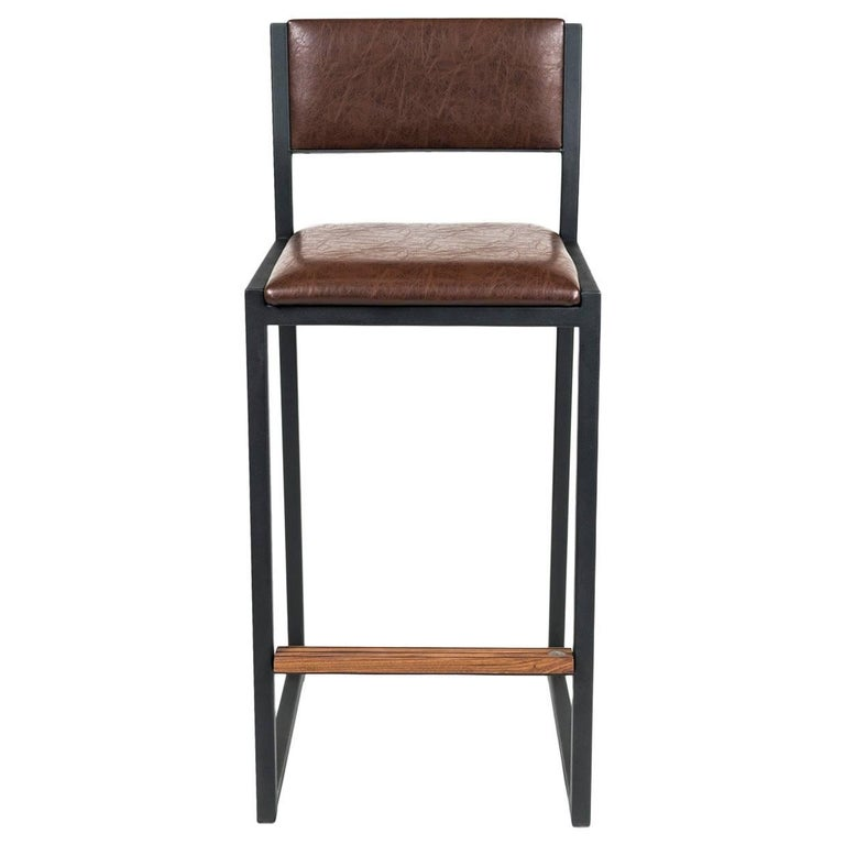 Shaker Counterstool Chair by Ambrozia, Walnut, Black Steel, Brown Premium Vinyl For Sale