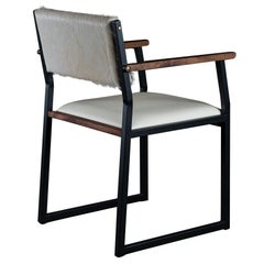 Shaker Modern Armchair, by Ambrozia, Walnut, Black Steel, Bone Leather & Cowhide