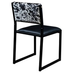 Shaker Modern Chair by Ambrozia, Salt & Pepper Cow Hide, Black Leather & Steel